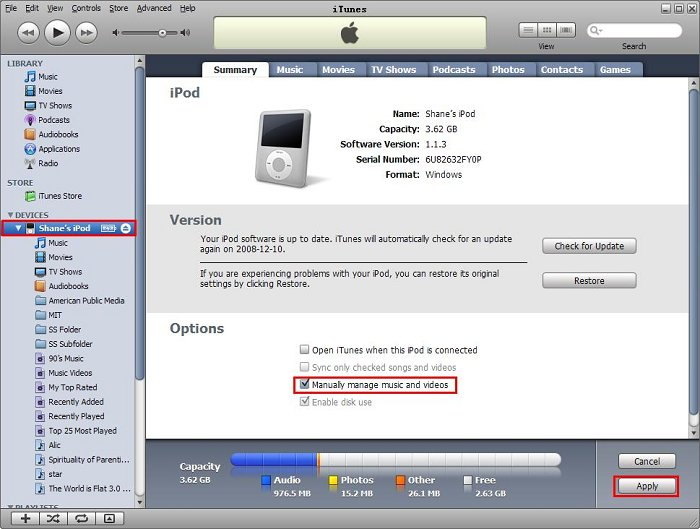Manage multiple iPods with in one iTunes